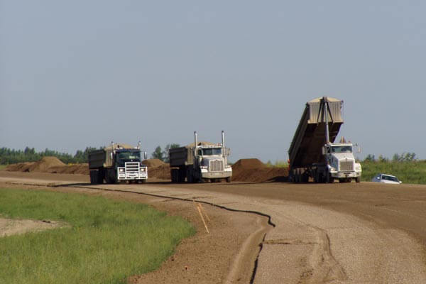 Dump Trucks on the Estevan Bypass